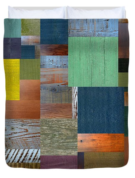 Wood With Teal And Yellow Duvet Cover by Michelle Calkins