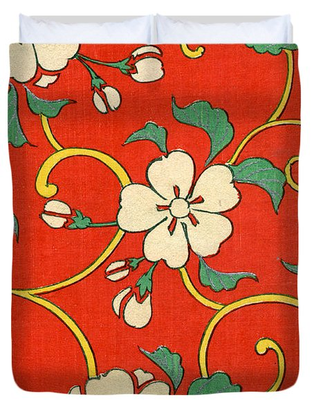 Woodblock Print Of Apple Blossoms Duvet Cover