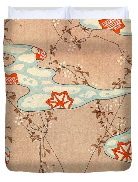Woodblock Print Of Fall Leaves Duvet Cover