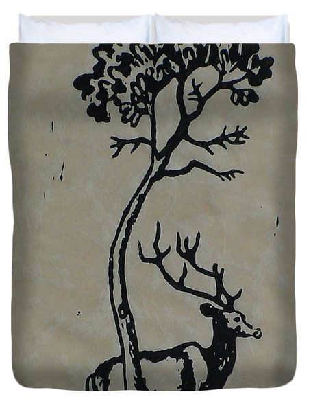 Woodcut Deer Duvet Cover by Shirley Heyn