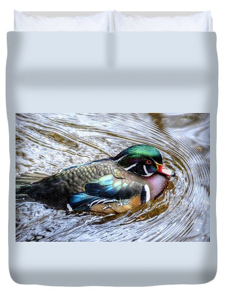 Woodduck Portrait Duvet Cover by Ronda Ryan