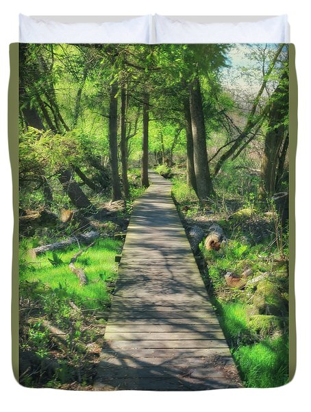 Wooded Path - Spring At Retzer Nature Center Duvet Cover by Jennifer Rondinelli Reilly - Fine Art Photography