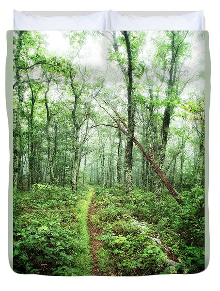 Duvet Cover featuring the photograph Wooded Trail by Alan Raasch