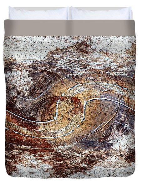 Wooden Abstract With Clouds Duvet Cover