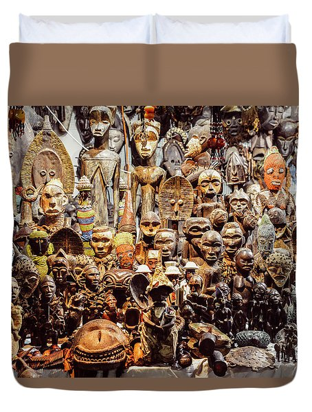 Wooden African Carvings Duvet Cover