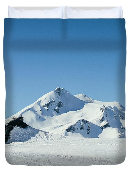 Wooden Alpine Cabin  Duvet Cover