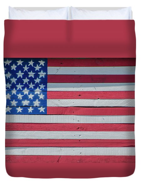Duvet Cover featuring the photograph Wooden American Flag by Bill Cannon
