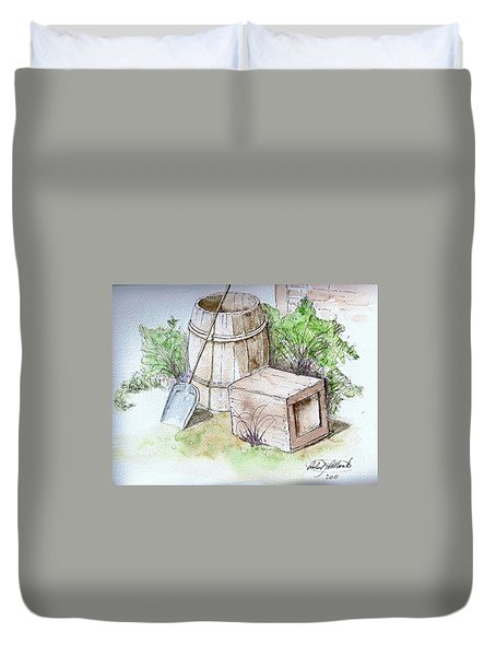 Wooden Barrel And Crate Duvet Cover