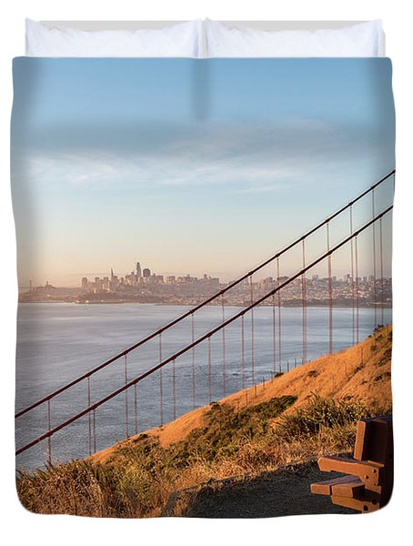 Wooden Bench Overlooking Downtown San Francisco With The Golden  Duvet Cover