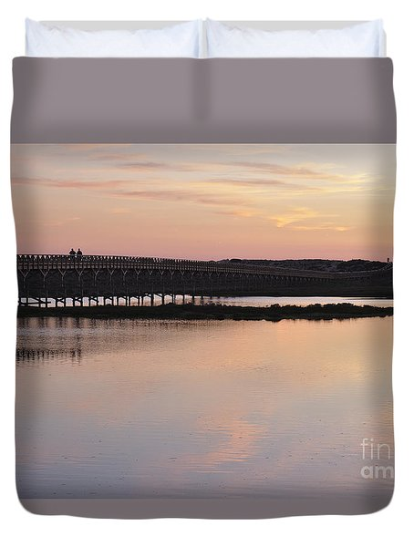 Wooden Bridge And Twilight Duvet Cover