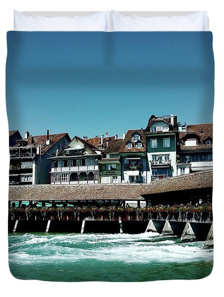 Duvet Cover featuring the photograph Wooden Bridge by Mimulux patricia no No