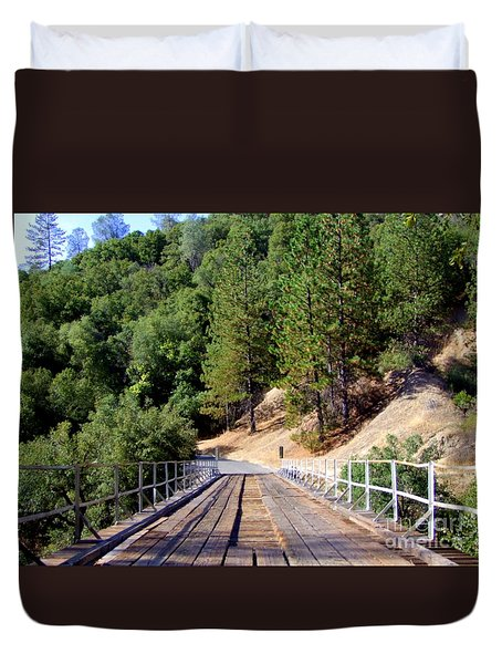 Wooden Bridge Over Deep Gorge Duvet Cover by Mary Deal