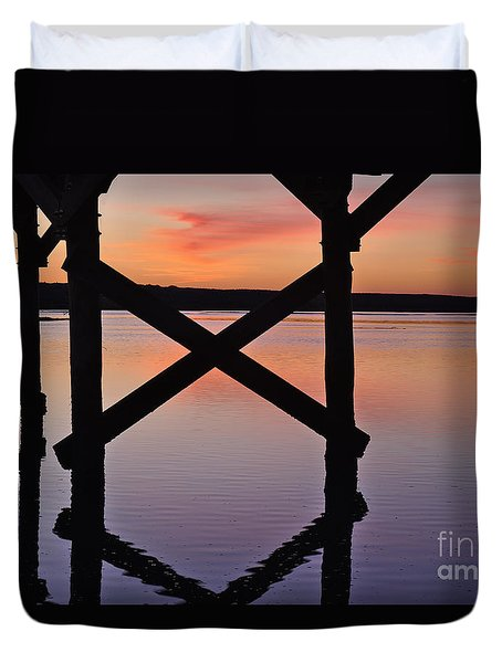 Wooden Bridge Silhouette At Dusk Duvet Cover