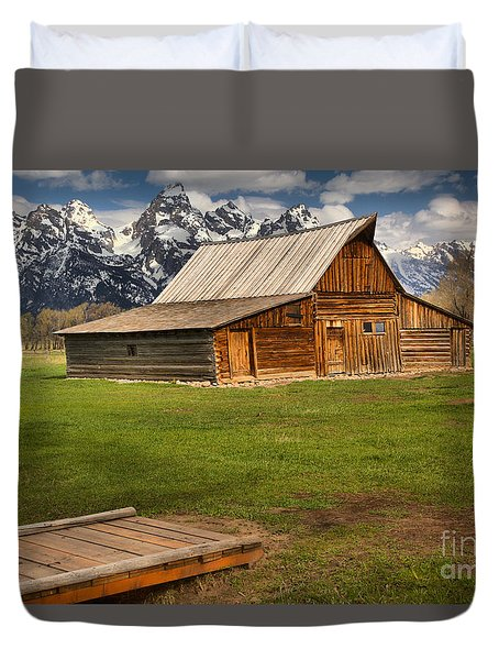 Wooden Bridge To The Wooden Barn Duvet Cover by Adam Jewell
