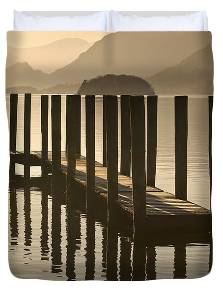 Duvet Cover featuring the photograph Wooden Dock In The Lake At Sunset by John Short