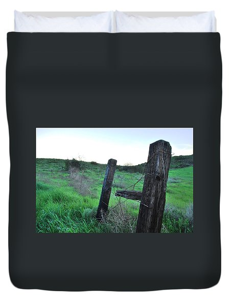 Duvet Cover featuring the photograph Wooden Gate In Field by Matt Harang