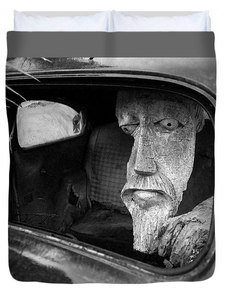 Duvet Cover featuring the photograph Wooden Head by Jim Mathis