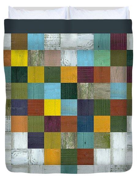 Duvet Cover featuring the digital art Wooden Heart by Michelle Calkins