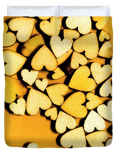 Wooden Hearts With Sentimental Single Duvet Cover