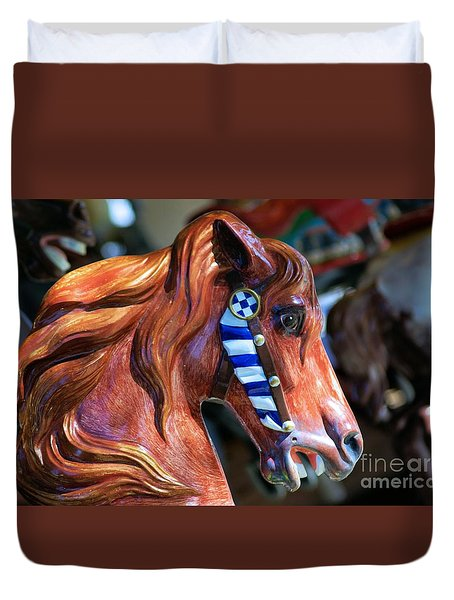 Duvet Cover featuring the photograph Wooden Horse by John S