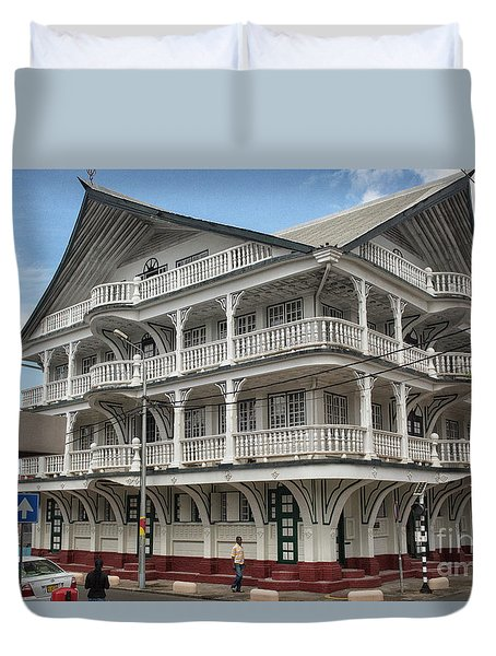 Wooden House In Colonial Style In Downtown Suriname Duvet Cover