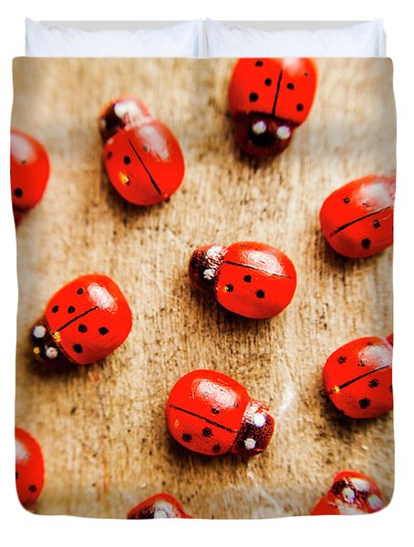 Wooden Ladybugs Duvet Cover