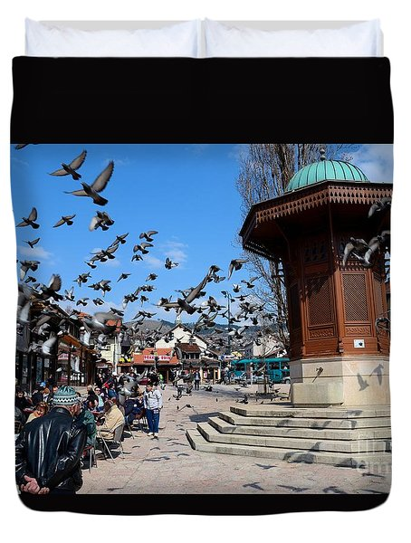 Wooden Ottoman Sebilj Water Fountain In Sarajevo Bascarsija Bosnia Duvet Cover
