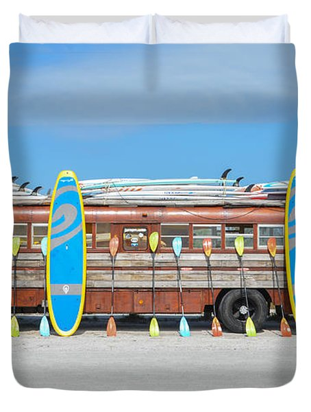 Wooden Paddle Board Bus Duvet Cover