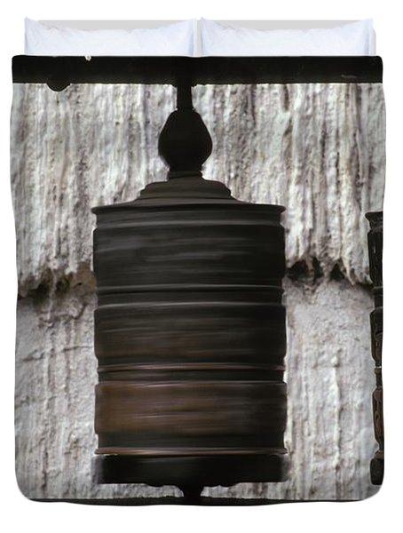 Wooden Prayer Wheels Duvet Cover by Sean White
