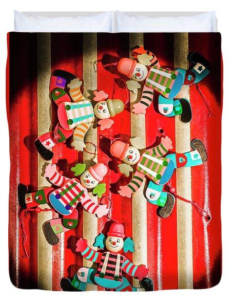 Wooden Puppet Show Duvet Cover