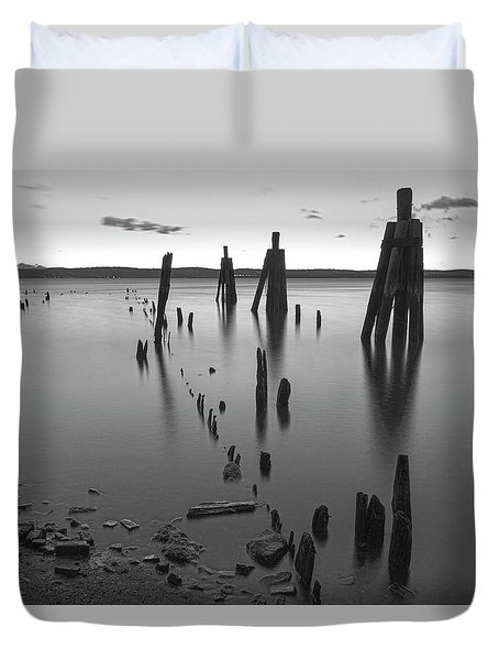 Wooden Soldiers Of The Hudson Monochrome Duvet Cover