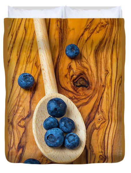 Wooden Spoon And Blueberries Duvet Cover by Garry Gay