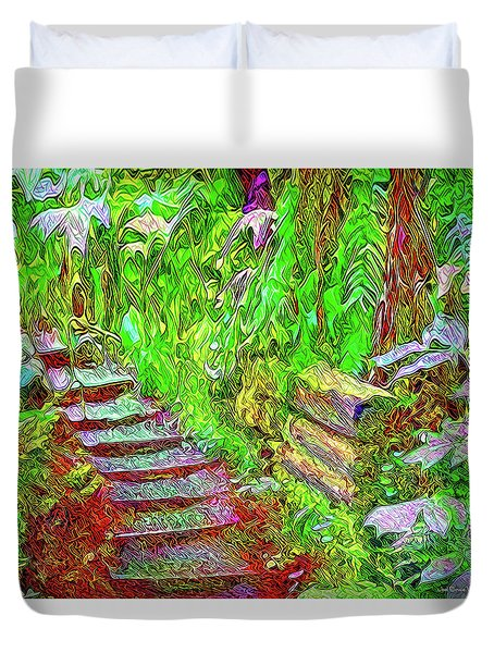Duvet Cover featuring the digital art Wooden Steps Through The Forest - Tamalpais California by Joel Bruce Wallach