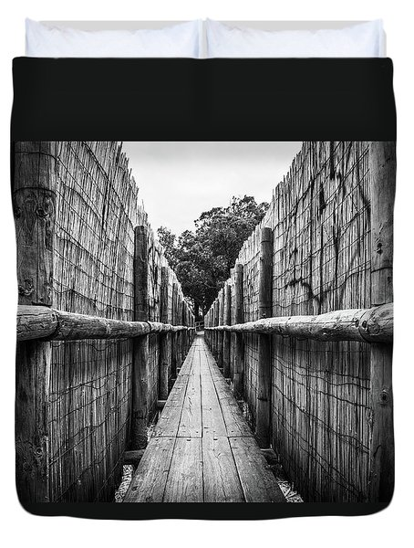 Duvet Cover featuring the photograph Wooden Walkway. by Gary Gillette