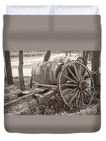 Wooden Wine Barrels On Cart Duvet Cover