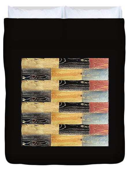 Woodgrain Art Abstract Golds Black Blues Duvet Cover by Scott D Van Osdol