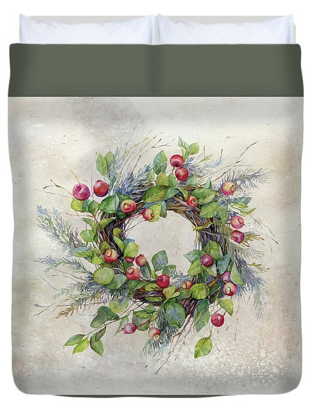 Duvet Cover featuring the digital art Woodland Berry Wreath by Colleen Taylor