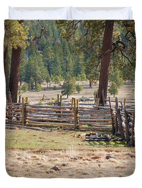 Woodland Corral - White Mountains Arizona Duvet Cover by Donna Greene