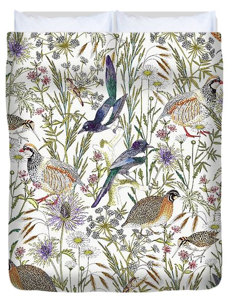 Woodland Edge Birds Duvet Cover by Jacqueline Colley