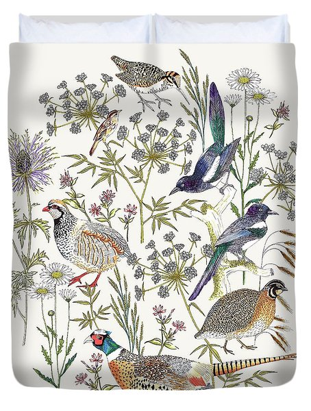 Woodland Edge Birds Placement Duvet Cover by Jacqueline Colley