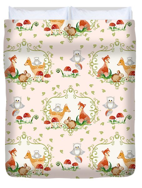 Woodland Fairy Tale - Pink Sweet Animals Fox Deer Rabbit Owl - Half Drop Repeat Duvet Cover