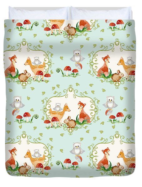 Woodland Fairy Tale - Sweet Animals Fox Deer Rabbit Owl - Half Drop Repeat Duvet Cover