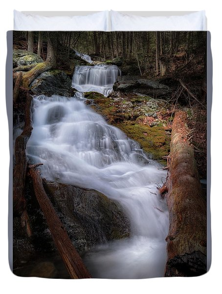 Duvet Cover featuring the photograph Woodland Falls 2017 by Bill Wakeley