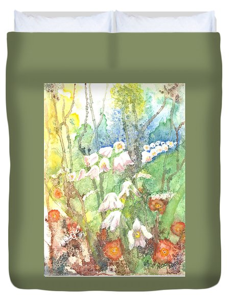 Duvet Cover featuring the painting Woodland Garden by Renate Nadi Wesley