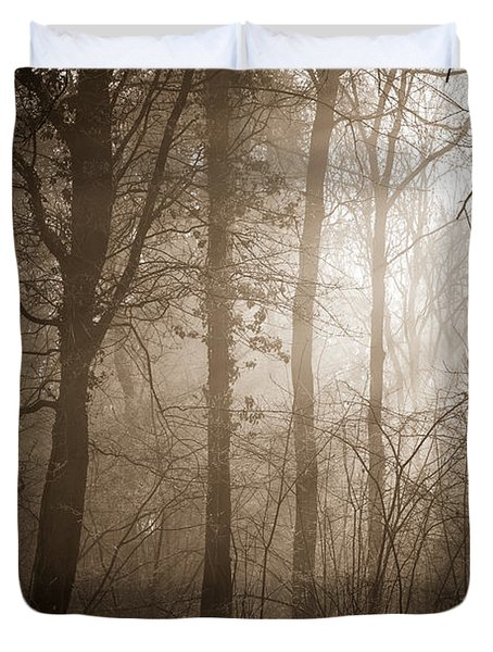 Duvet Cover featuring the photograph Woodland Glade 3 by Clare Bambers