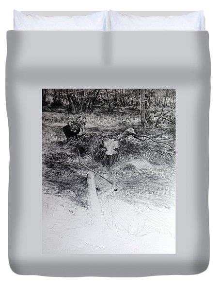 Duvet Cover featuring the drawing Woodland by Harry Robertson