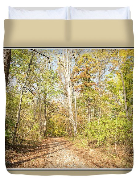 Woodland Path, Autumn, Montgomery County, Pennsylvania Duvet Cover