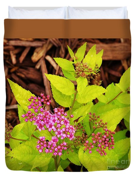 Duvet Cover featuring the photograph Woodland Pink Spirea by J L Zarek