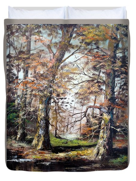 Duvet Cover featuring the painting Woodland Pond  by Lee Piper