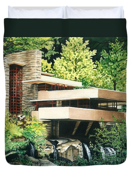 Duvet Cover featuring the painting Fallingwater-a Woodland Retreat By Frank Lloyd Wright by Barbara Jewell